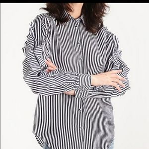 Banana Republic Striped Dillon Ruffle Sleeve Shirt